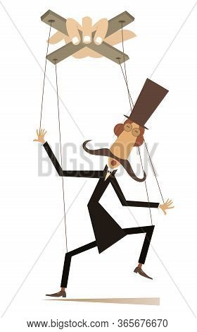 Puppet Man Controlled By Cords Concept Illustration. Long Mustache Man In The Top Hat Is Controlled