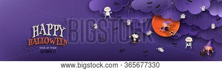 Happy Halloween Banner Trick Or Treat With Night Clouds, Witch, Vampire, Ghost, Bats In Paper Cut St
