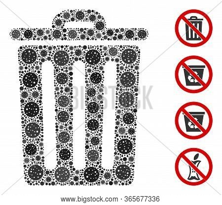 Collage Dustbin United From Sars Virus Icons In Random Sizes And Color Hues. Vector Viral Parts Are