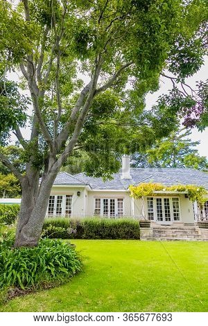 Cape Town, South Africa - February 6, 2020: Exterior View Of Upmarket Wealthy Suburban Mansion House