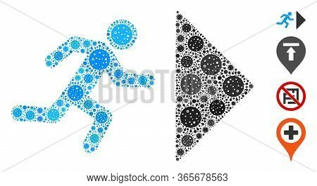 Collage Exit Direction Composed Of Sars Virus Icons In Various Sizes And Color Hues. Vector Viral Ic