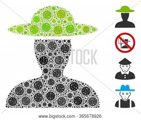 Collage Farmer Person Constructed From Covid-2019 Virus Icons In Random Sizes And Color Hues. Vector