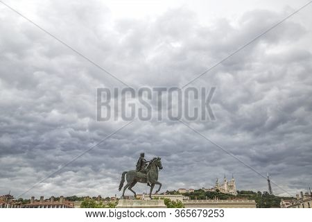 Statue Of Louis. In The Centre Of Place Bellecour Lyon-france Stands An Equestrian Statue Of King Lo