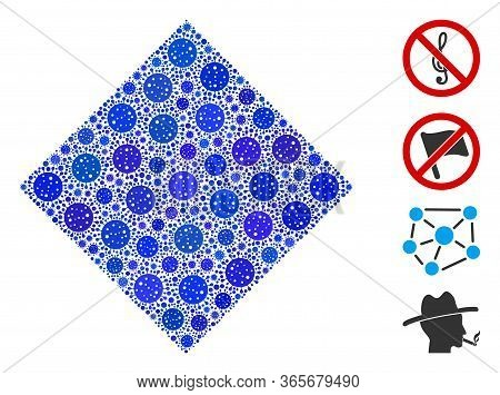 Mosaic Filled Rhombus Constructed From Sars Virus Items In Random Sizes And Color Hues. Vector Patho