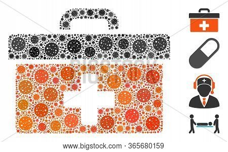 Mosaic First Aid Toolbox United From Coronavirus Icons In Random Sizes And Color Hues. Vector Infect