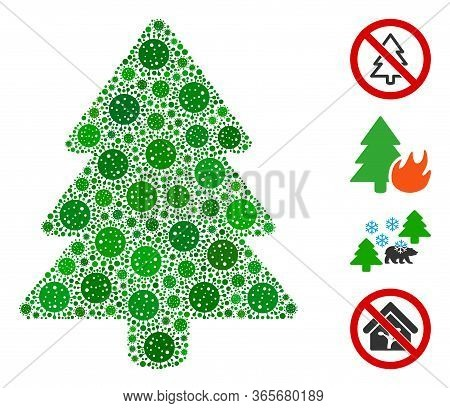 Collage Fir-tree Designed From Sars Virus Items In Random Sizes And Color Hues. Vector Infection Ite