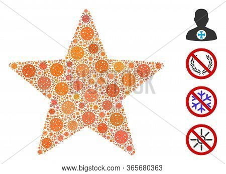 Collage Five Pointed Star Composed Of Flu Virus Elements In Variable Sizes And Color Hues. Vector In