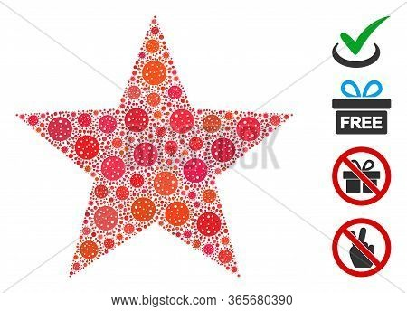 Mosaic Five-pointed Star United From Coronavirus Icons In Various Sizes And Color Hues. Vector Infec