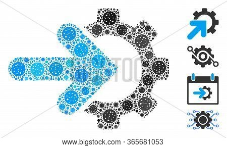 Collage Gear Integration Composed Of Flu Virus Icons In Different Sizes And Color Hues. Vector Infec