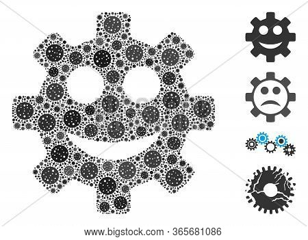 Mosaic Gear Smile Smiley United From Sars Virus Elements In Random Sizes And Color Hues. Vector Vira