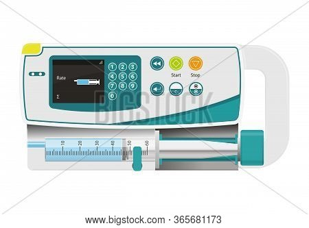 Infusion Pump Isolated On White,drug Delivery, Life Saving,intensive Care Unit