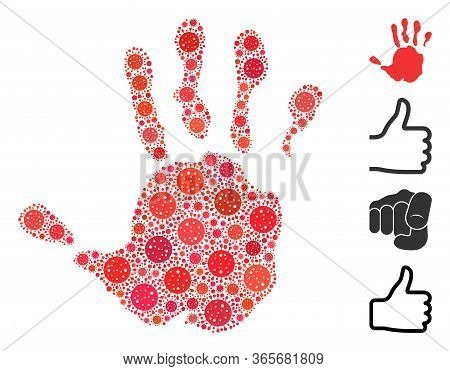 Mosaic Hand Print Constructed From Flu Virus Icons In Random Sizes And Color Hues. Vector Infection
