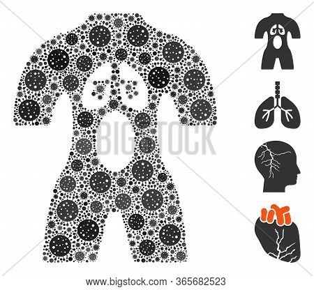 Collage Human Anatomy Constructed From Coronavirus Icons In Different Sizes And Color Hues. Vector V