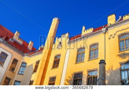 Catholic Gymnasium On Grosslingova Street 1908, Architect Oden Lechner, Bratislava, Slovakia. Sunset