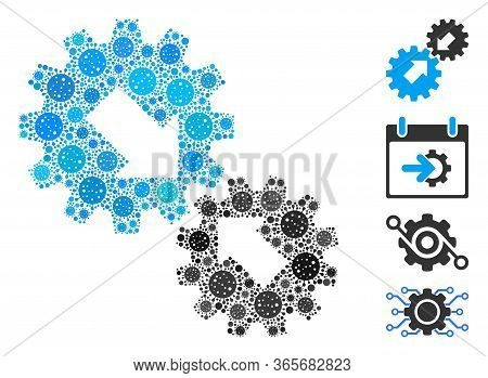 Collage Integration Composed Of Sars Virus Items In Random Sizes And Color Hues. Vector Viral Icons