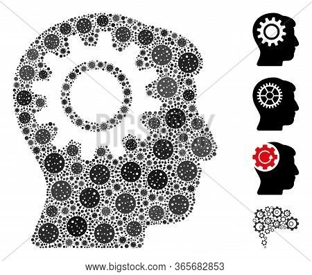 Mosaic Intellect Gear United From Coronavirus Elements In Different Sizes And Color Hues. Vector Inf