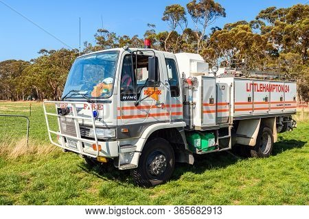Adelaide Hills, South Australia - February 9, 2020: South Australian Country Fire Service Truck Park