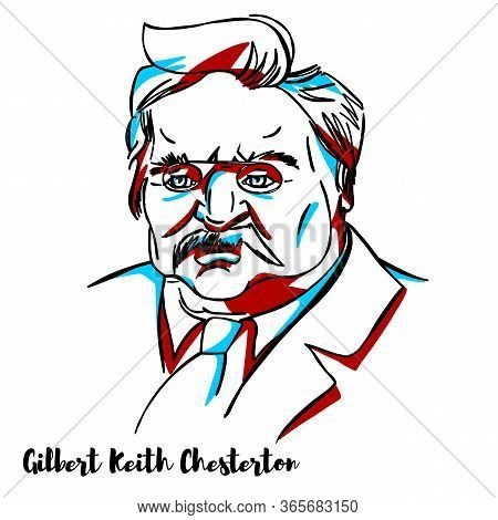 Gilbert Keith Chesterton Engraved Vector Portrait With Ink Contours. English Writer, Philosopher, La