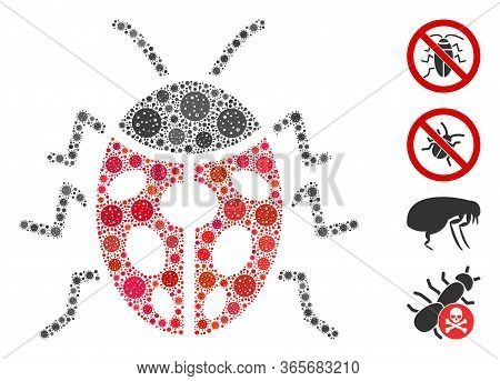 Mosaic Ladybird Bug United From Sars Virus Icons In Various Sizes And Color Hues. Vector Viral Icons