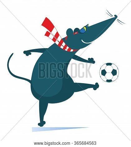 Cartoon Rat Or Mouse Plays Football Illustration. Cartoon Rat Or Mouse Kicks A Ball Isolated On Whit