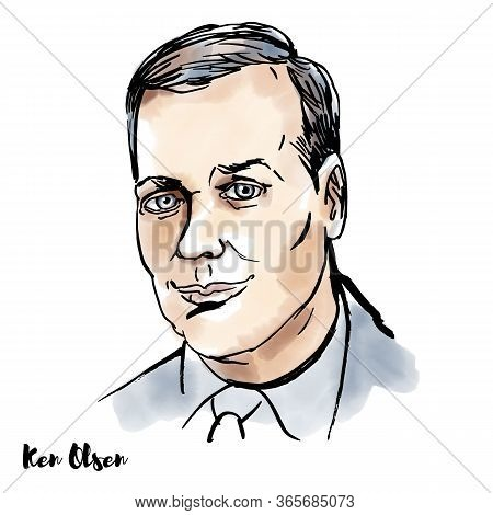 Young Ken Olsen Watercolor Vector Portrait With Ink Contours. American Engineer Who Co-founded Digit