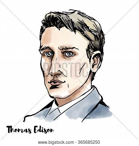 Young Thomas Edison Watercolor Vector Portrait With Ink Contours. American Inventor And Businessman,