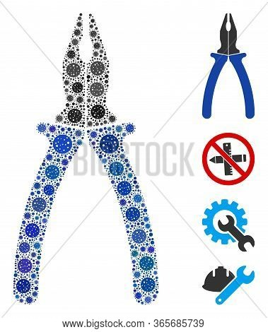 Collage Pliers Organized From Coronavirus Icons In Different Sizes And Color Hues. Vector Infection