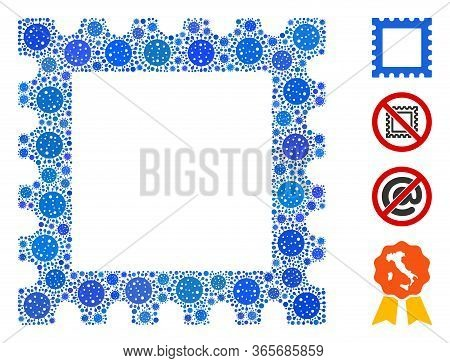 Collage Postage Stamp Constructed From Covid-2019 Virus Icons In Different Sizes And Color Hues. Vec
