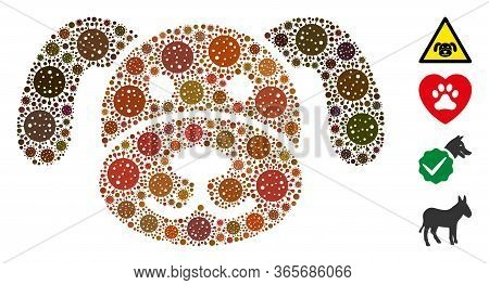 Collage Puppy Organized From Coronavirus Elements In Various Sizes And Color Hues. Vector Infection