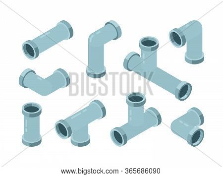 Pipe Isometric. Industrial Connection Oil Pipes With Red Valve Vector Isolated Set. Illustration Pip