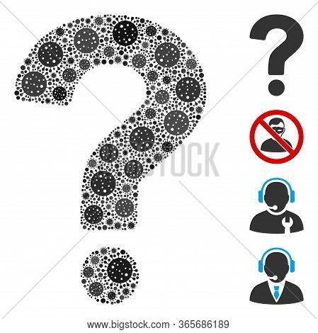 Collage Question Designed From Sars Virus Icons In Different Sizes And Color Hues. Vector Viral Icon