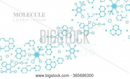 Molecular Structure. Medicine Researching, Dna Or Chemistry Science. Biotechnology Presentation Temp