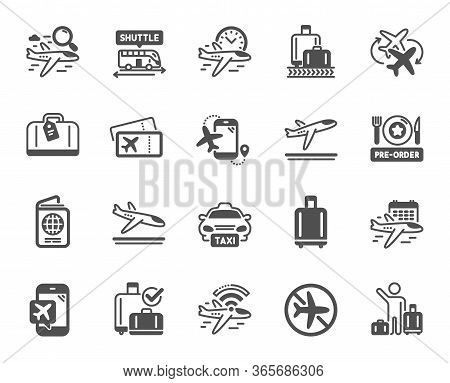 Airport Icons. Boarding Pass, Baggage Claim, Arrival And Departure. Connecting Flight, Tickets, Pre-