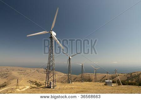 Wind farm at Cape Meganom. Ukraine. Crimea. poster