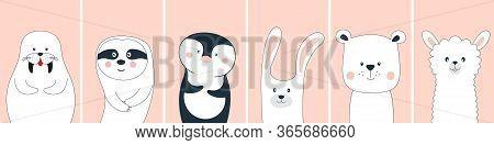 Cute Funny Cartoon Animals Characters Walrus, Sloth, Penguin, Bear, Llama And Rabbit.