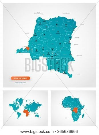 Editable Template Of Map Of Dr Of The Congo With Marks. Dr Of The Congo  On World Map And On Africa