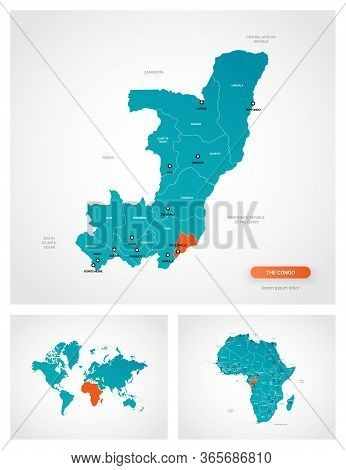 Editable Template Of Map Of Congo With Marks. Congo On World Map And On Africa Map.