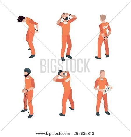Prisoner Characters. Jail Guy Bandit Thief In Specific Costumes Vector Person In Action Poses. Priso