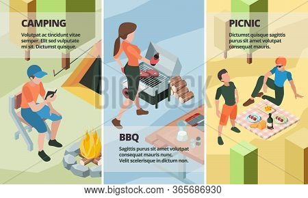 Bbq Banners. Outdoor Picnic People Making Barbecue Street Grill Relax And Playing Eating Food Vector