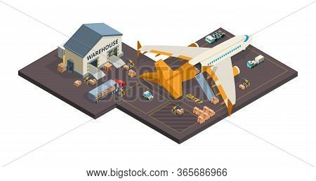 Cargo Aircraft. Loading Airplane Packages And Containers Airport Truck Refueling Vector Isometric Ca