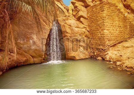 View Of Waterfall In Mountain Oasis Chebika, Sahara Desert, Tunisia