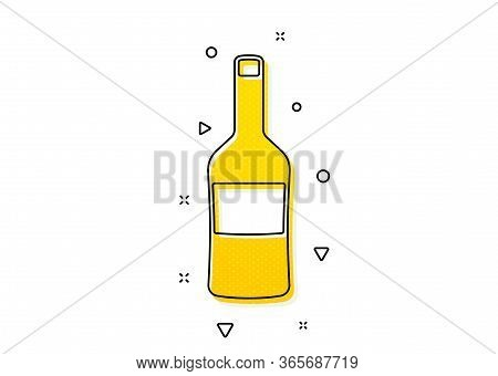 Merlot Or Cabernet Sauvignon Sign. Wine Bottle Icon. Yellow Circles Pattern. Classic Wine Icon. Geom