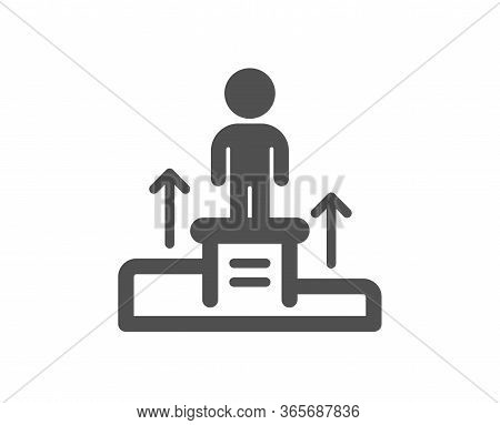 Business Podium Icon. Employee Nomination Sign. Person Award Symbol. Classic Flat Style. Quality Des
