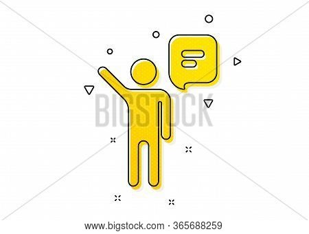 Business Management Sign. Agent Talk Icon. Speech Bubble Symbol. Yellow Circles Pattern. Classic Age
