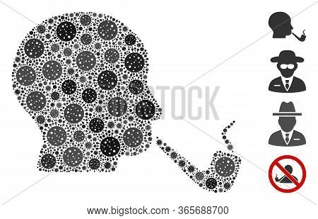 Mosaic Smoking Detective Organized From Flu Virus Elements In Different Sizes And Color Hues. Vector