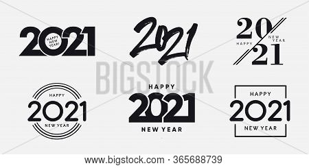 Big Set Of 2021 Happy New Year Logo Text Design. 2021 Number Design Template. Collection Of 2021 Hap