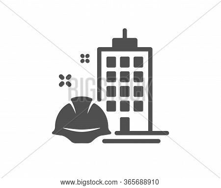Construction Building Icon. Engineer Or Architect Helmet Sign. Industrial Engineering Symbol. Classi