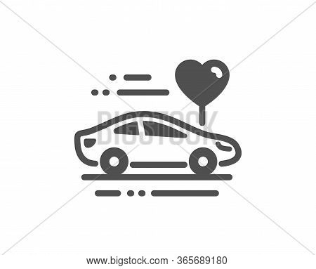 Honeymoon Travel Icon. Love Car Trip Sign. Valentines Day Transport Symbol. Classic Flat Style. Qual