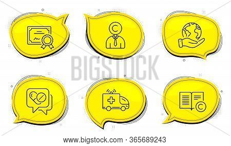 Ambulance Car Sign. Diploma Certificate, Save Planet Chat Bubbles. Copyrighter, Medical Drugs And Co