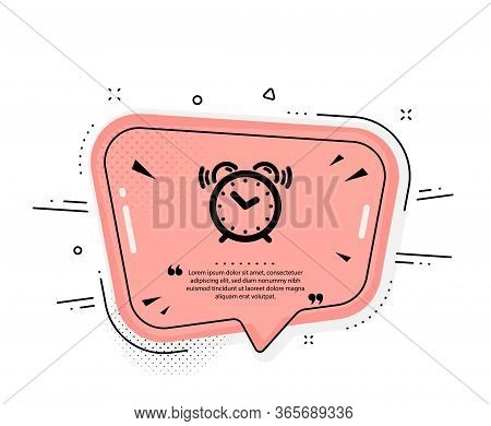 Alarm Clock Icon. Quote Speech Bubble. Time Sign. Watch Symbol. Quotation Marks. Classic Alarm Clock